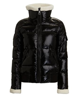 Nikki Shearling Trimmed Puffer Jacket, BLACK, hi-res