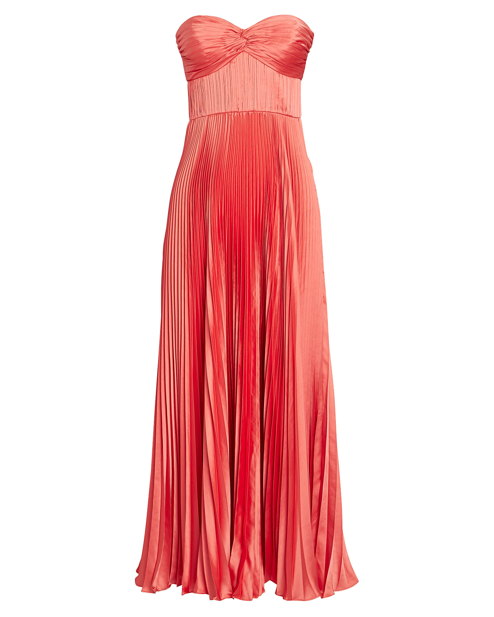 Belle Strapless Pleated Satin Dress, CORAL, hi-res