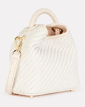Mini Madeleine Leather Tote, WHITE, hi-res