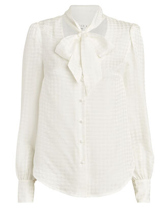 Nicky Silk Houndstooth Tie-Neck Blouse, IVORY, hi-res