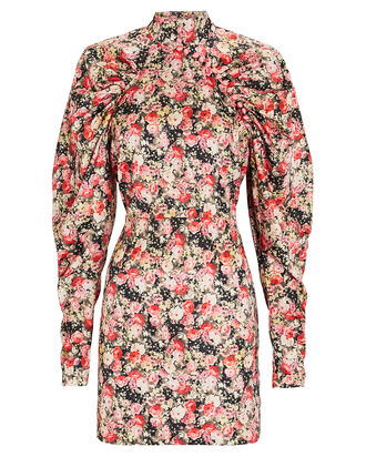 Kim Ruched Floral Mini Dress, GOLD/ABSTRACT, hi-res