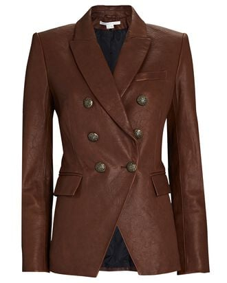 Miller Double-Breasted Leather Blazer, BROWN, hi-res