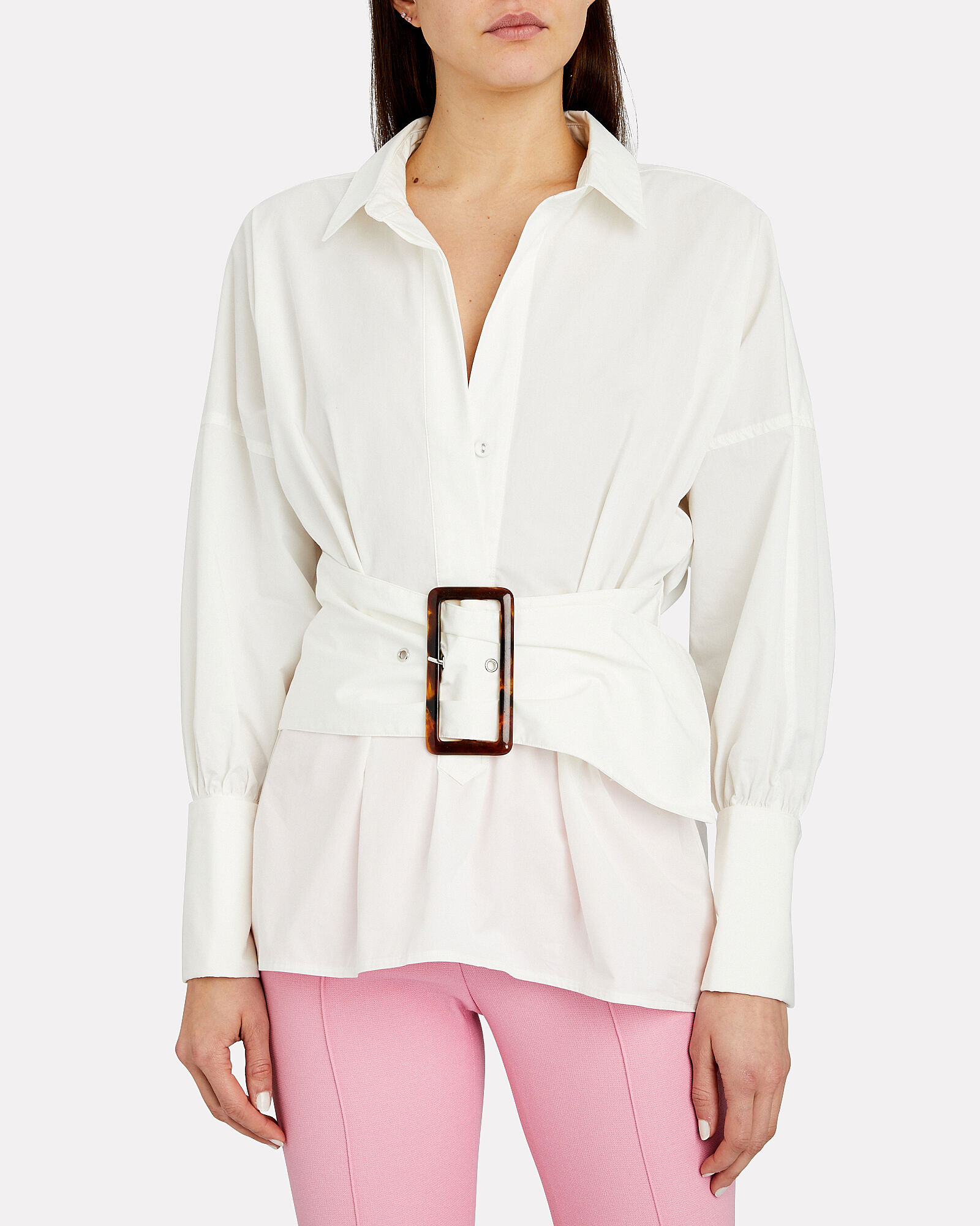Artwork Belted Button Down Shirt, WHITE, hi-res