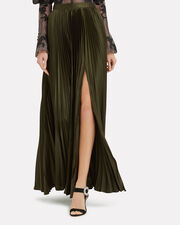 Annie Pleated Slit Olive Skirt, OLIVE/ARMY, hi-res
