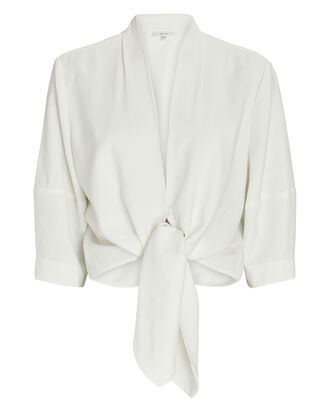 Tie Front Viscose Blouse, IVORY, hi-res