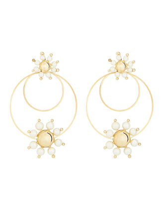 Daisy Pearl Hoop Earrings, GOLD, hi-res