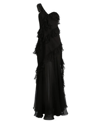 Harlow Crinkled Chiffon One-Shoulder Gown, BLACK, hi-res
