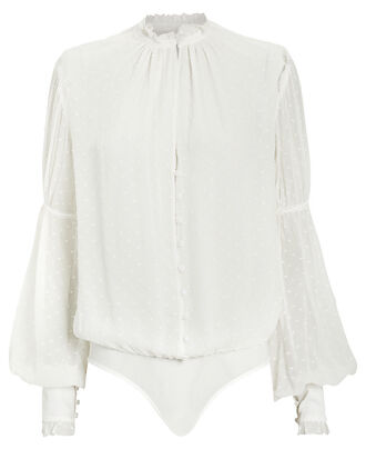 Embroidered Chiffon Bodysuit, IVORY, hi-res
