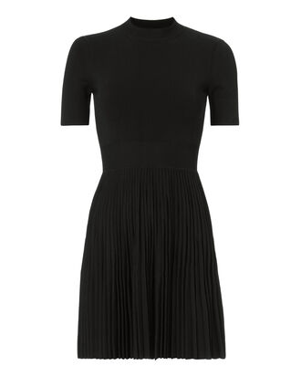 Pleated Skirt Mini Dress, BLACK, hi-res