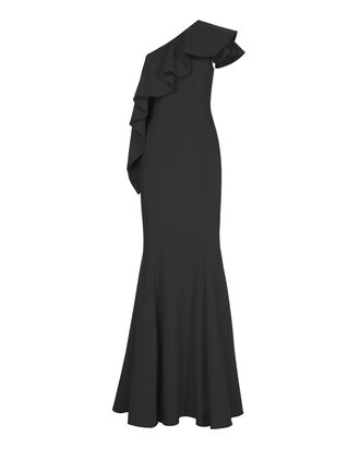 Taj One Shoulder Black Gown, BLACK, hi-res