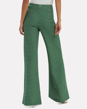 Luc Printed Wide Leg Trousers, GREEN, hi-res