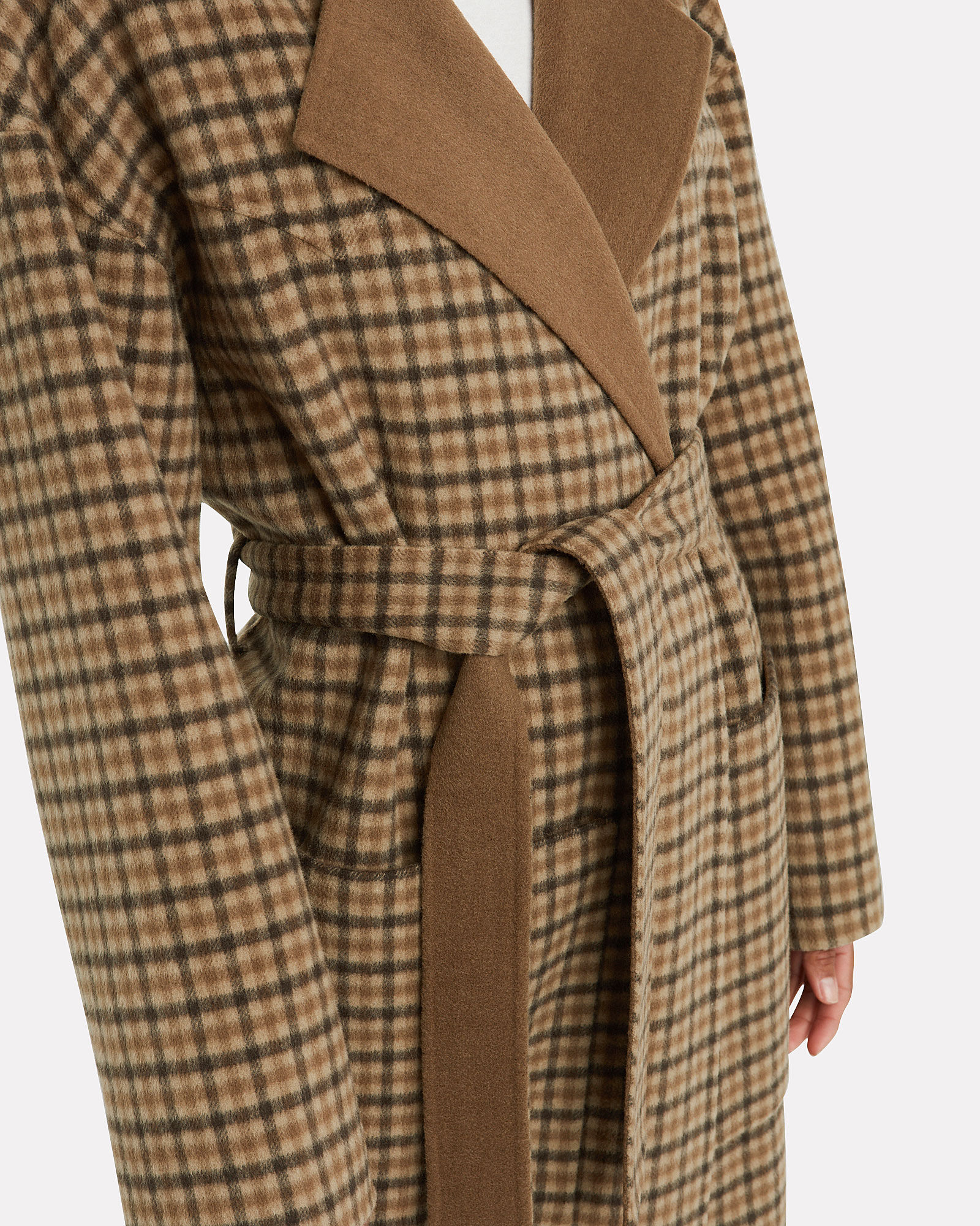 Alamo Plaid Wool Wrap Coat, BROWN, hi-res