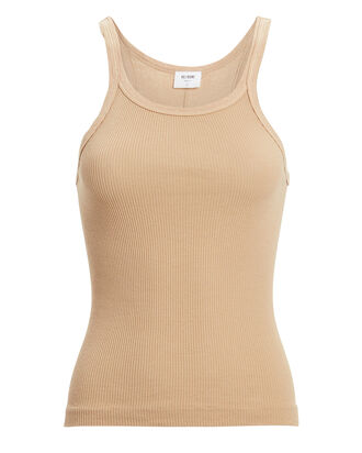 Ribbed Cotton Tank, SAND, hi-res