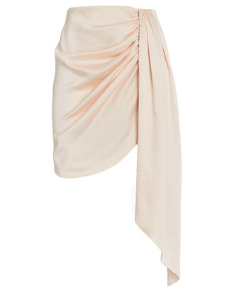 Mae Draped Satin Mini Skirt, BLUSH, hi-res