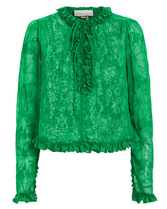 Saxon Lace High Collar Blouse, GREEN, hi-res