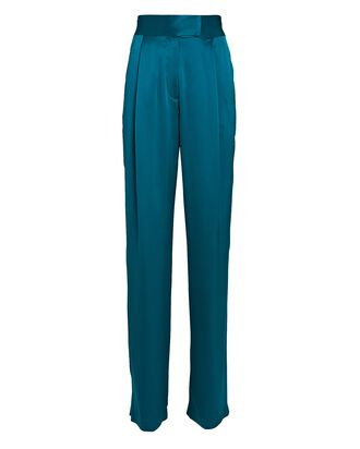 Pleated Wide-Leg Silk Trousers, TURQUOISE, hi-res