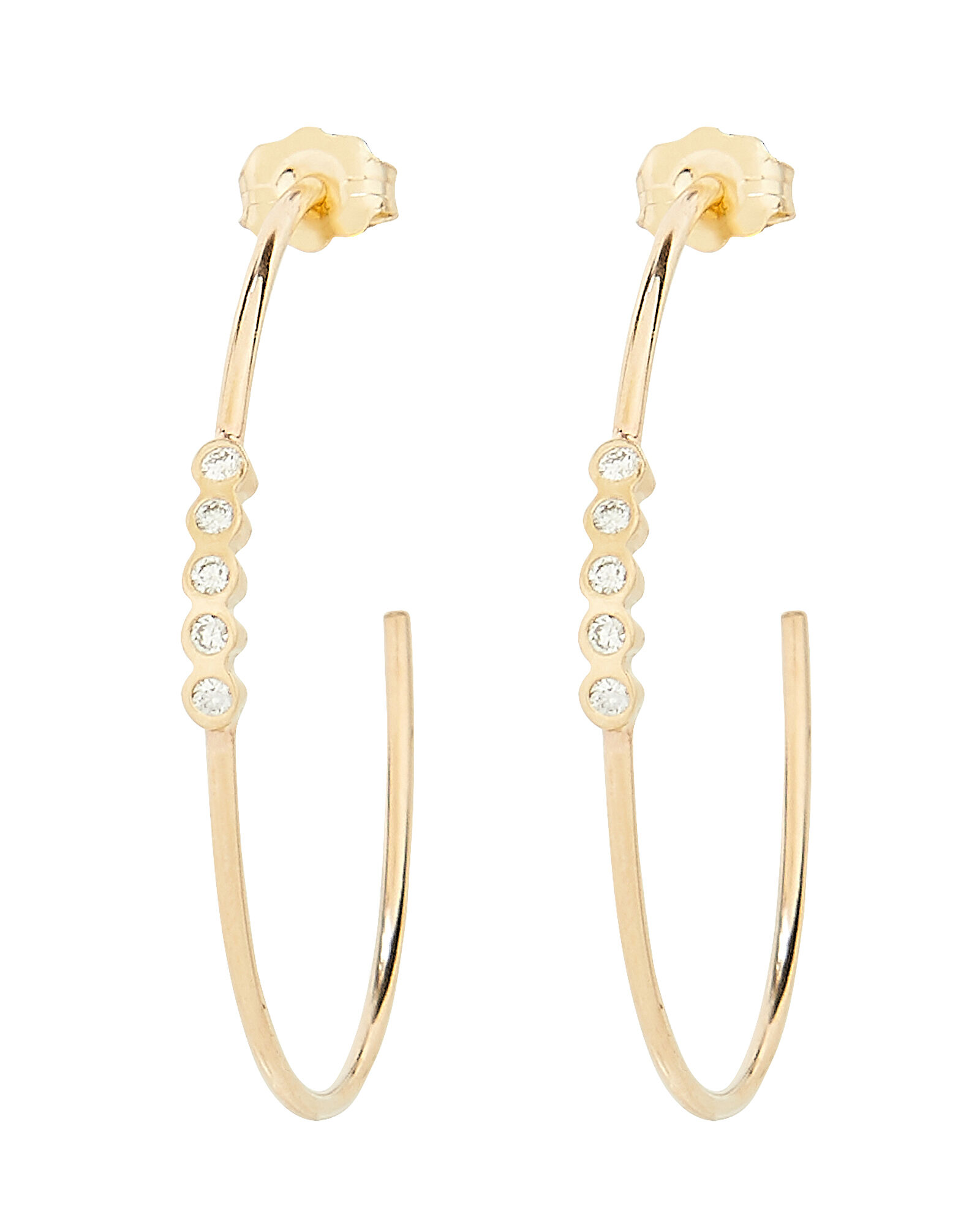 Bezel Diamond Hoops, GOLD, hi-res