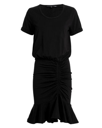 Pima Cotton Ruched Dress, BLACK, hi-res