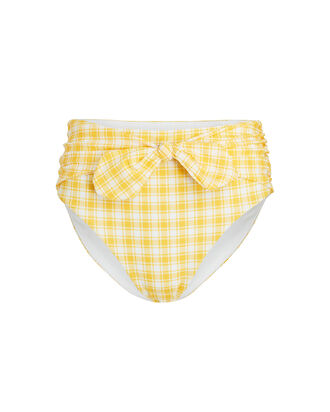 Azoia Gingham Tie Bikini Bottoms, YELLOW/WHITE, hi-res