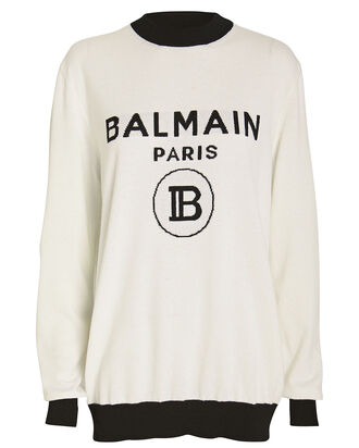 Wool & Cashmere Logo Sweater, WHITE/BLACK, hi-res