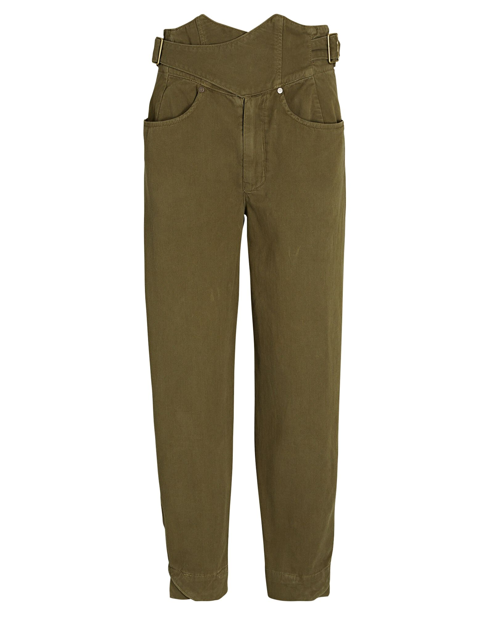 Aston High Rise Cross-Front Pants, OLIVE/ARMY, hi-res