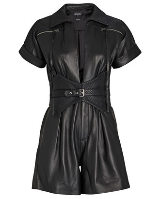 Susan Leather Short Sleeve Romper, , hi-res