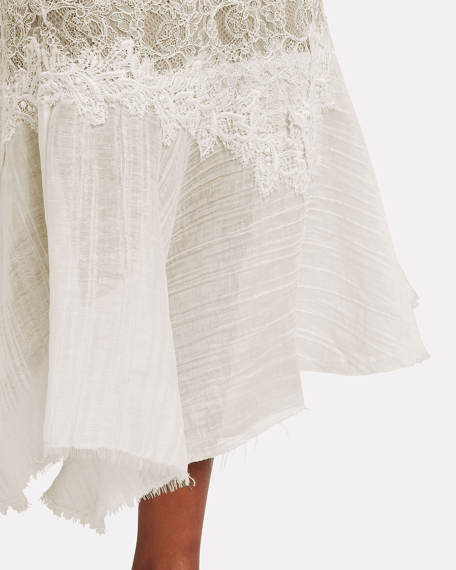 Beretti Lace-Trimmed Asymmetrical Skirt, BEIGE/WHITE, hi-res