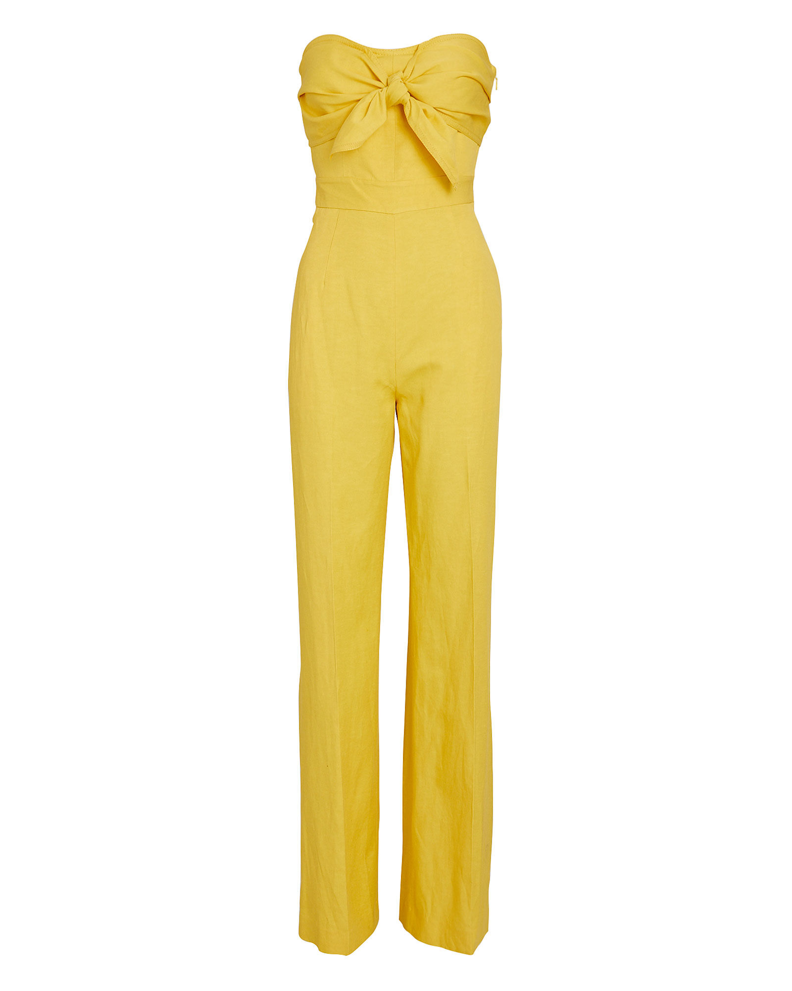 Alene Strapless Tie-Front Jumpsuit, YELLOW, hi-res