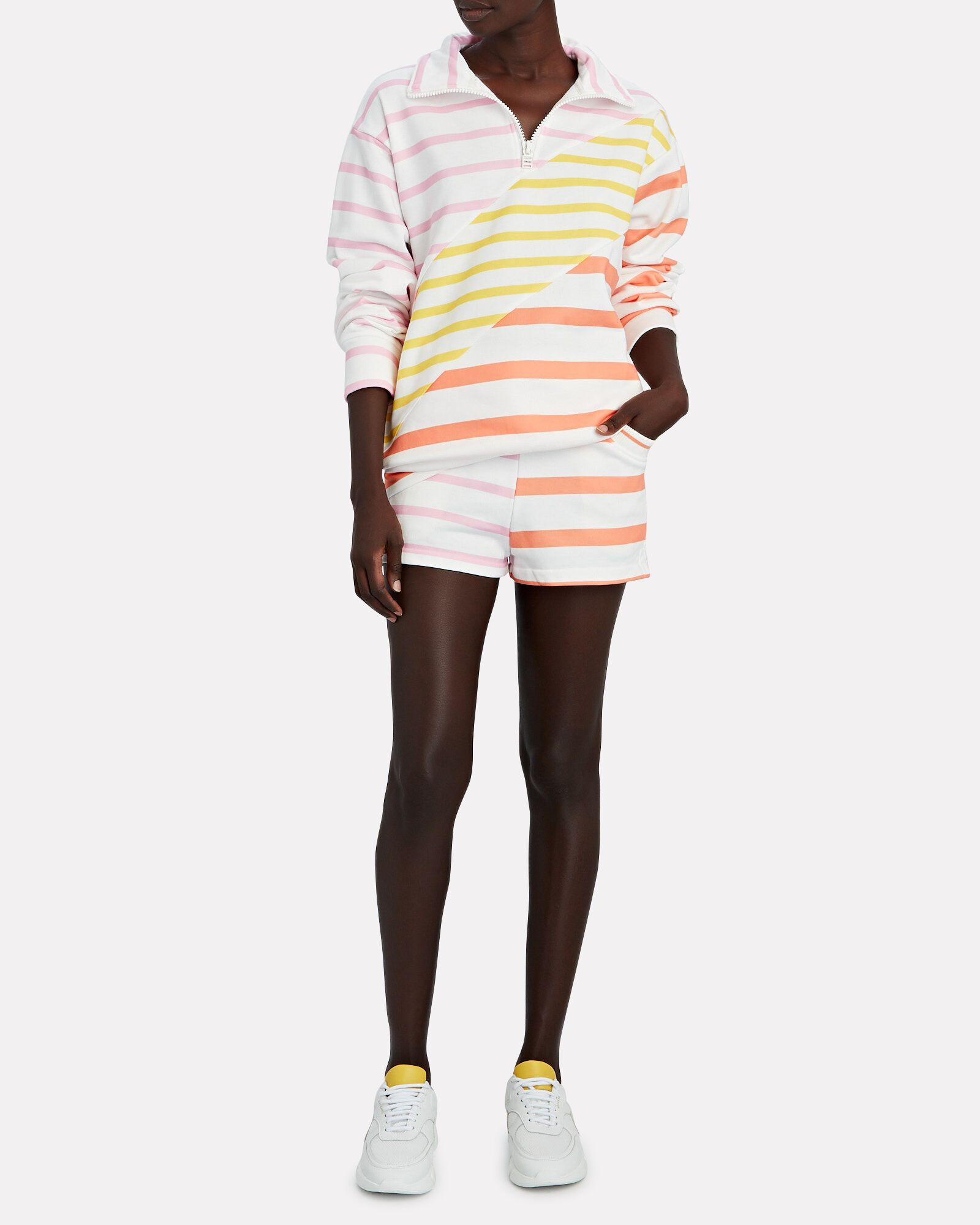 Sophie Striped French Terry Shorts, WHITE/ORANGE/PINK, hi-res