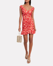 Silk Ruched Toile Dress, RED/FLORAL, hi-res