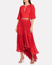 Daniela Pleated Keyhole Top, RED, hi-res