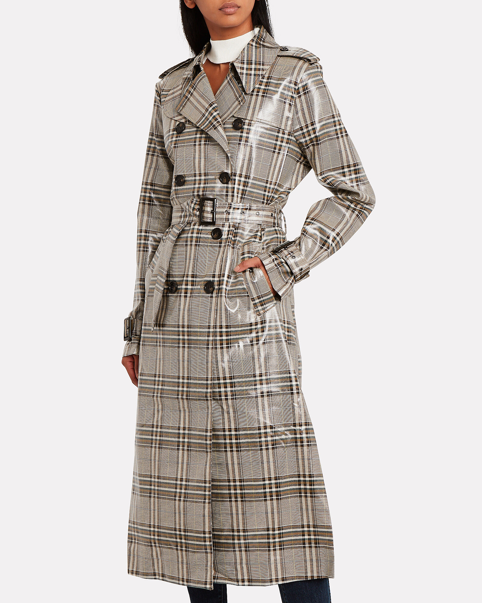 Handsome Glossy Trench Coat, MULTI, hi-res