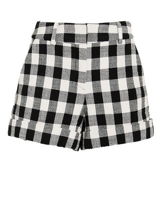 Carito Gingham Tweed Shorts, BLACK/WHITE, hi-res