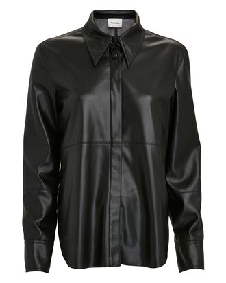 Naum Vegan Leather Shirt, BLACK, hi-res
