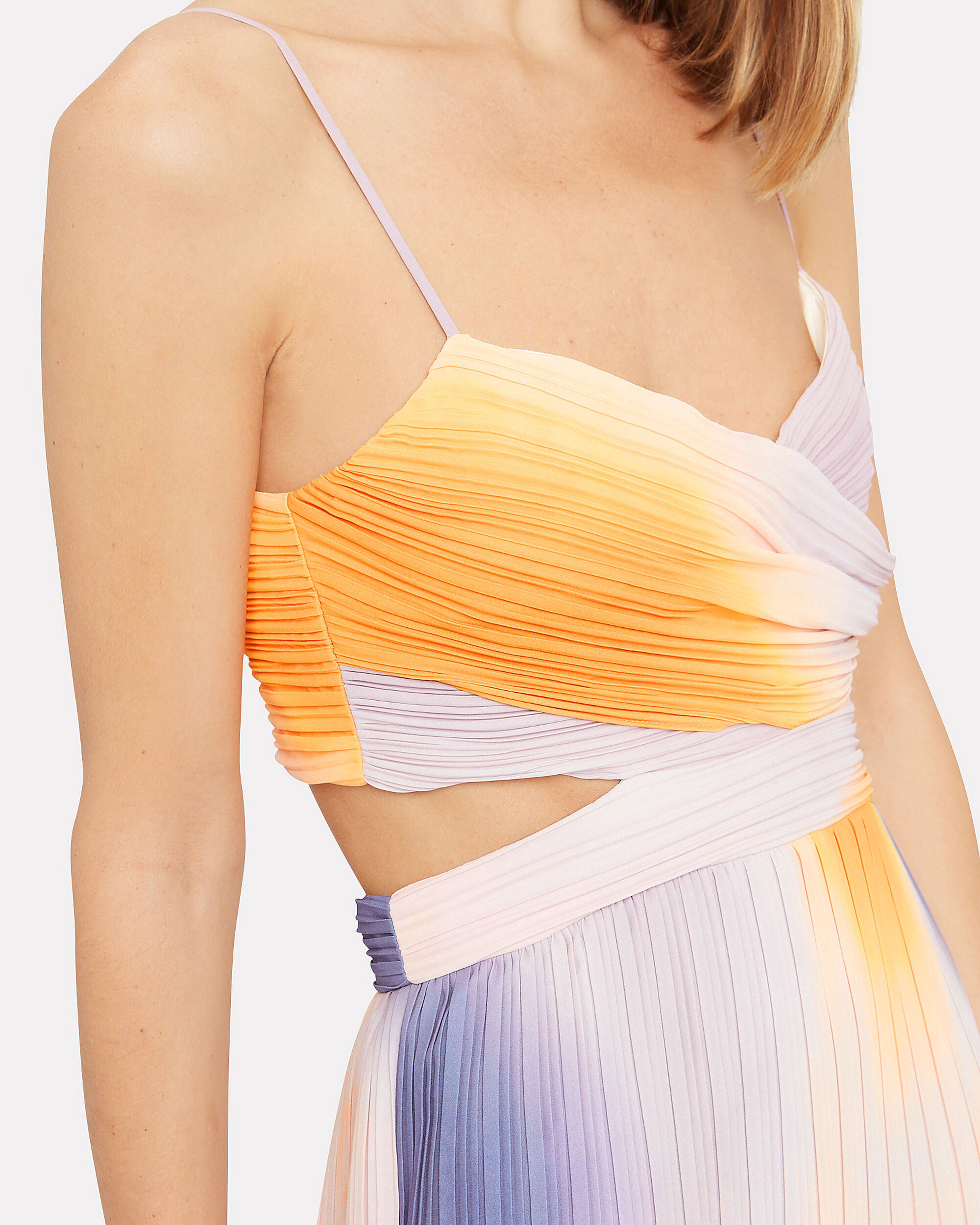 Sienna Ombré Pleated Dress, ORANGE/PURPLE/PINK, hi-res