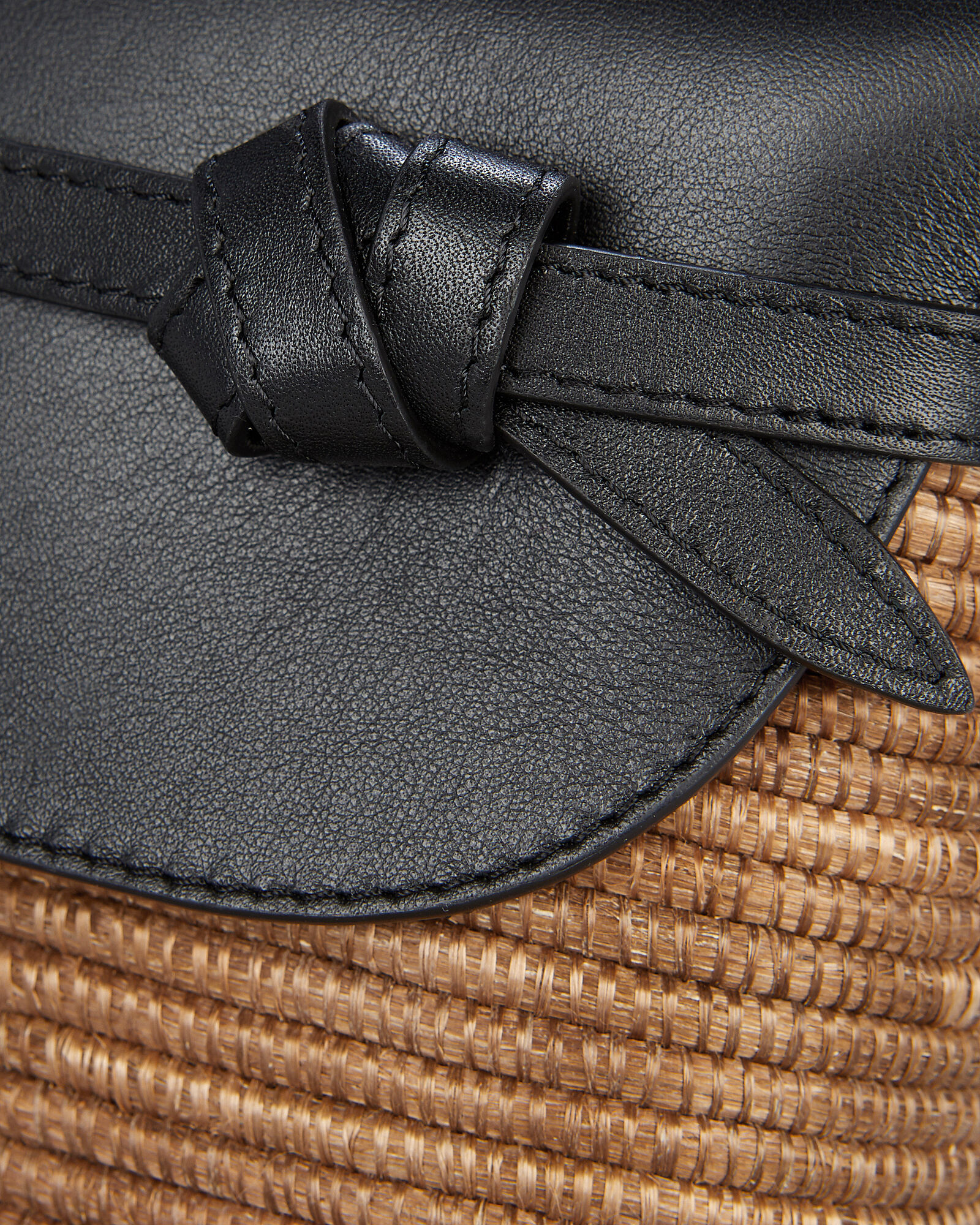 Sisal Leather-Trimmed Wicker Crossbody, CAMEL, hi-res