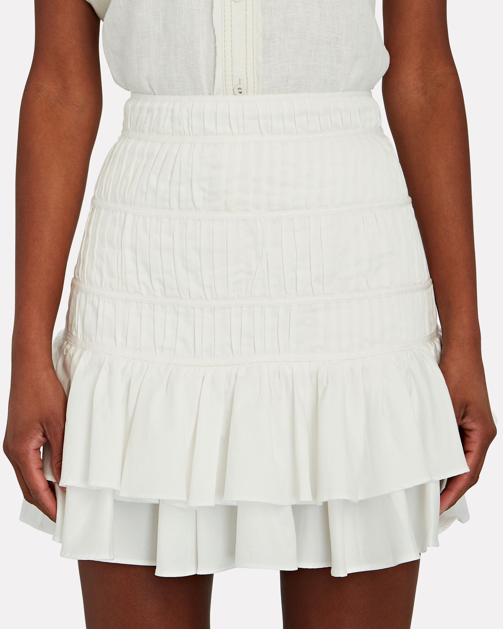 Reine Ruffled Mini Skirt, WHITE, hi-res