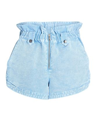 Maura Zip Front Denim Shorts, BLUE, hi-res