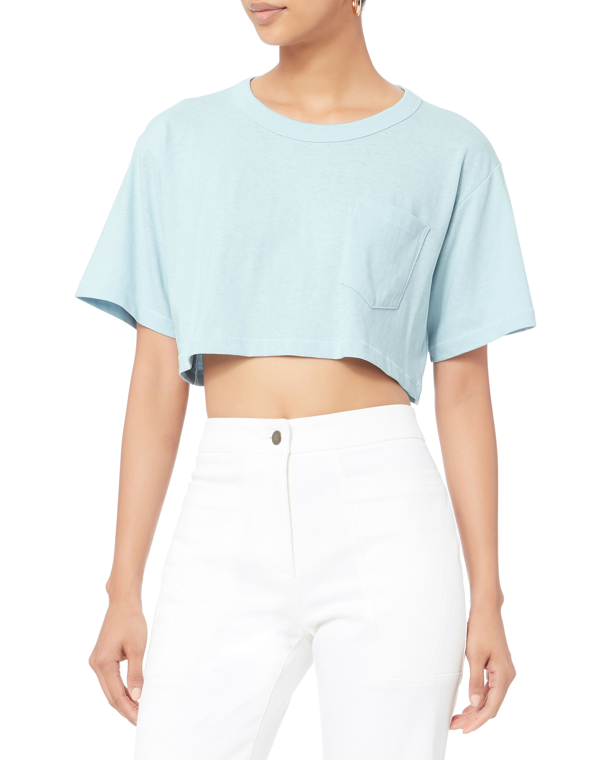 Crop Tee, BLUE-LT, hi-res