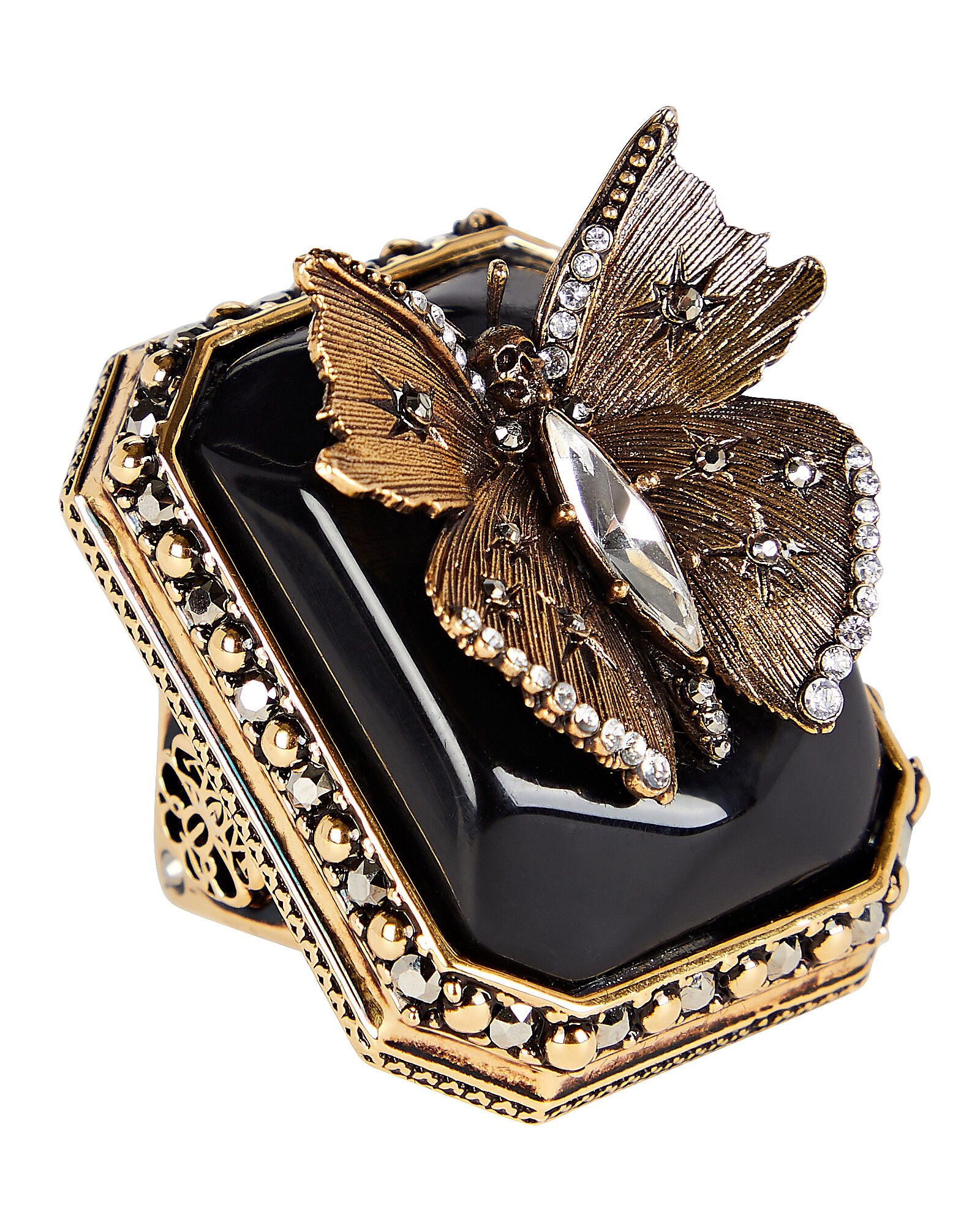 Butterfly Signet Ring, GOLD, hi-res