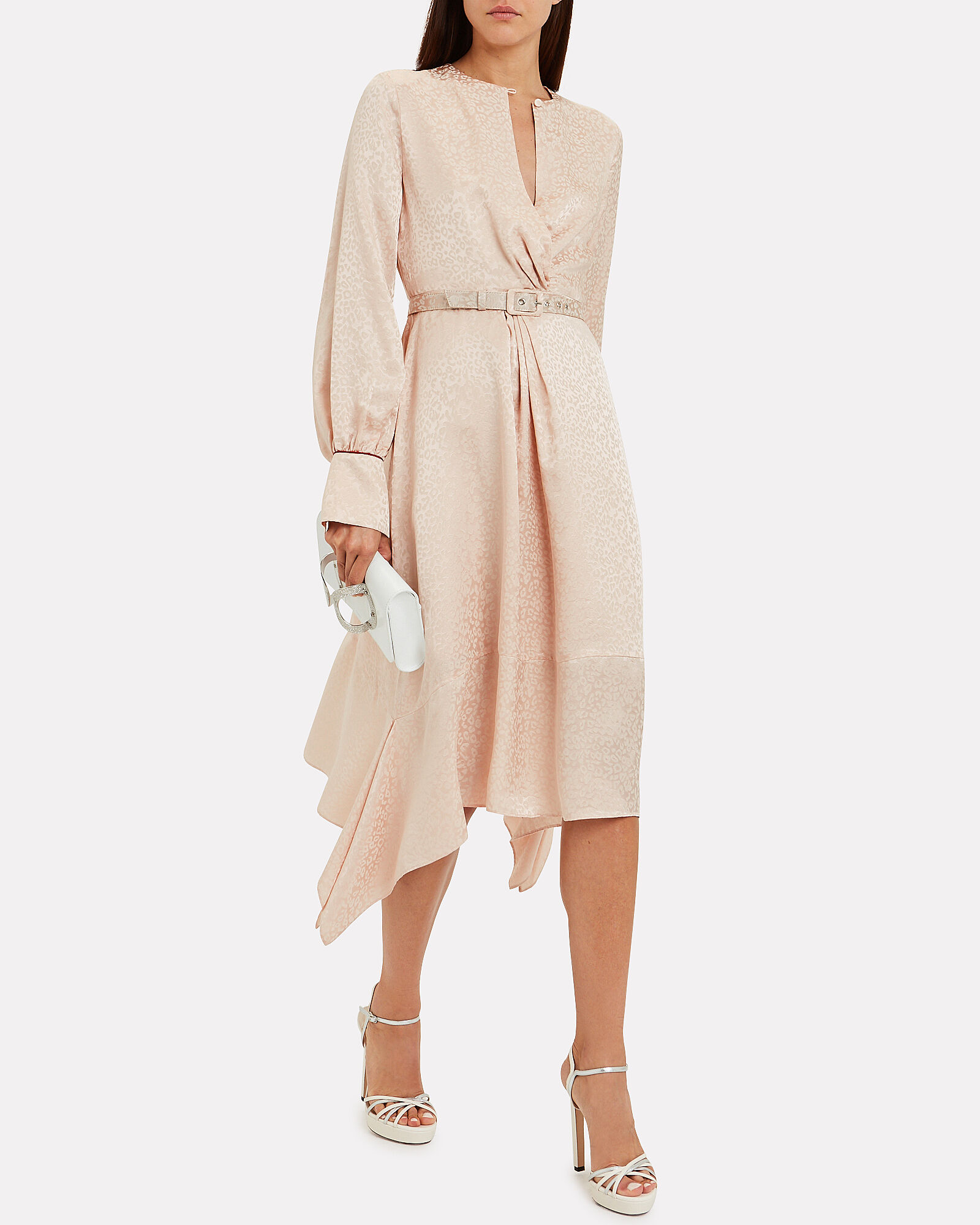 Twist Front Jacquard Dress, BLUSH, hi-res