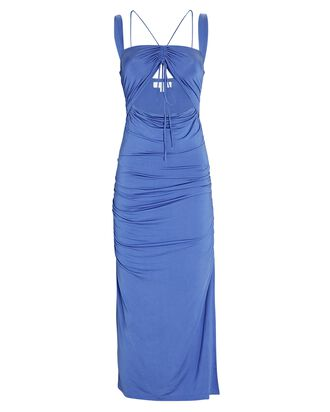 Lucy Ruched Cut-Out Jersey Midi Dress, BLUE, hi-res