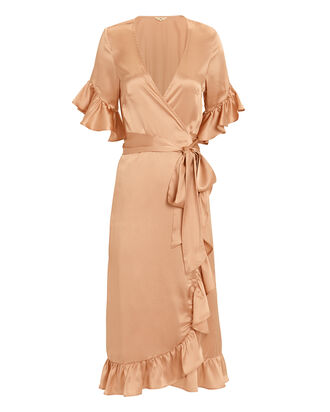 Silk Ruffle Wrap Dress, PINK, hi-res