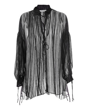 Nights Metallic Thread Sheer Tunic, BLACK, hi-res