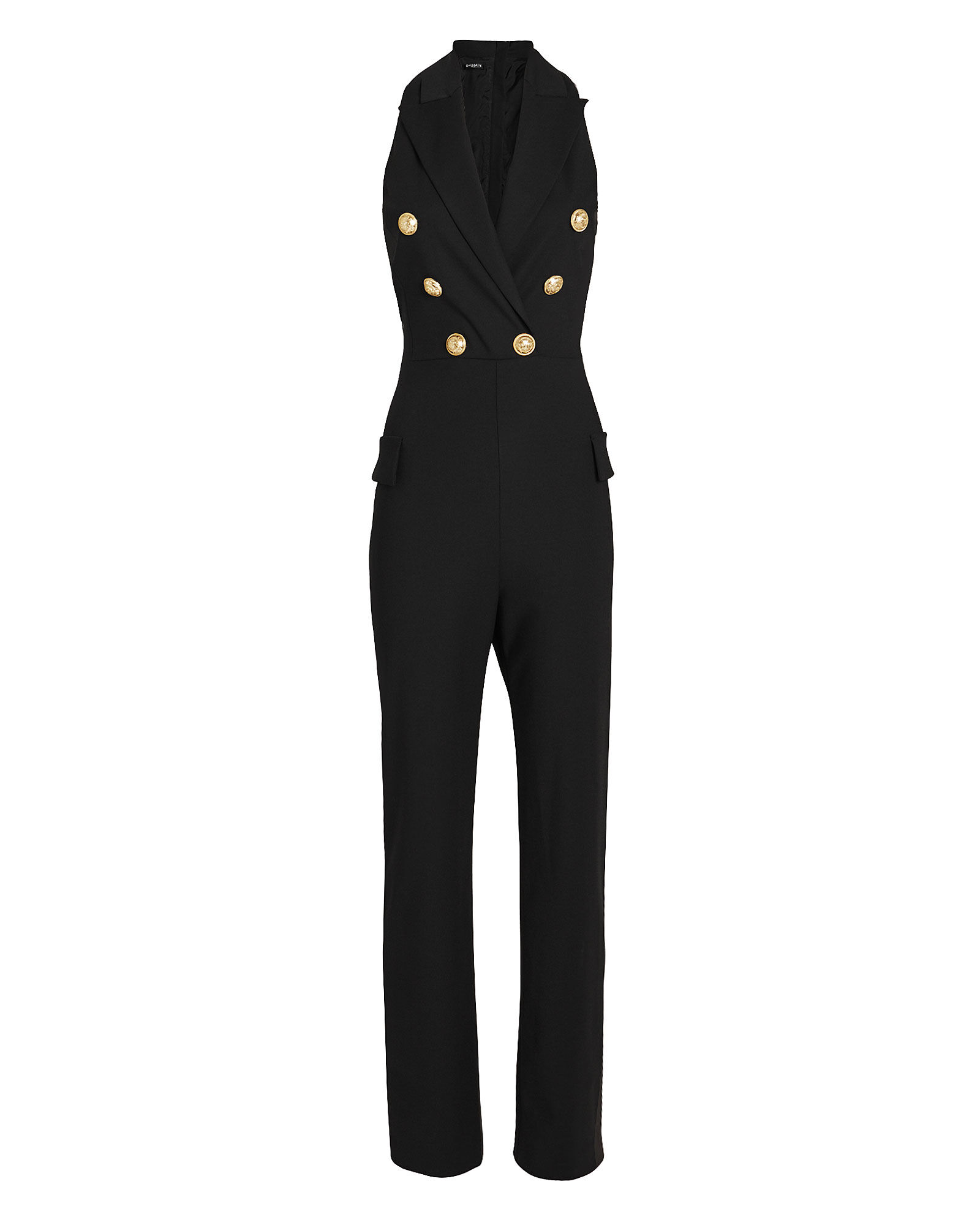 Sleeveless Double Breasted Wool Jumpsuit, BLACK, hi-res