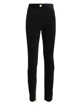 Stretch Velvet Pants, BLACK, hi-res