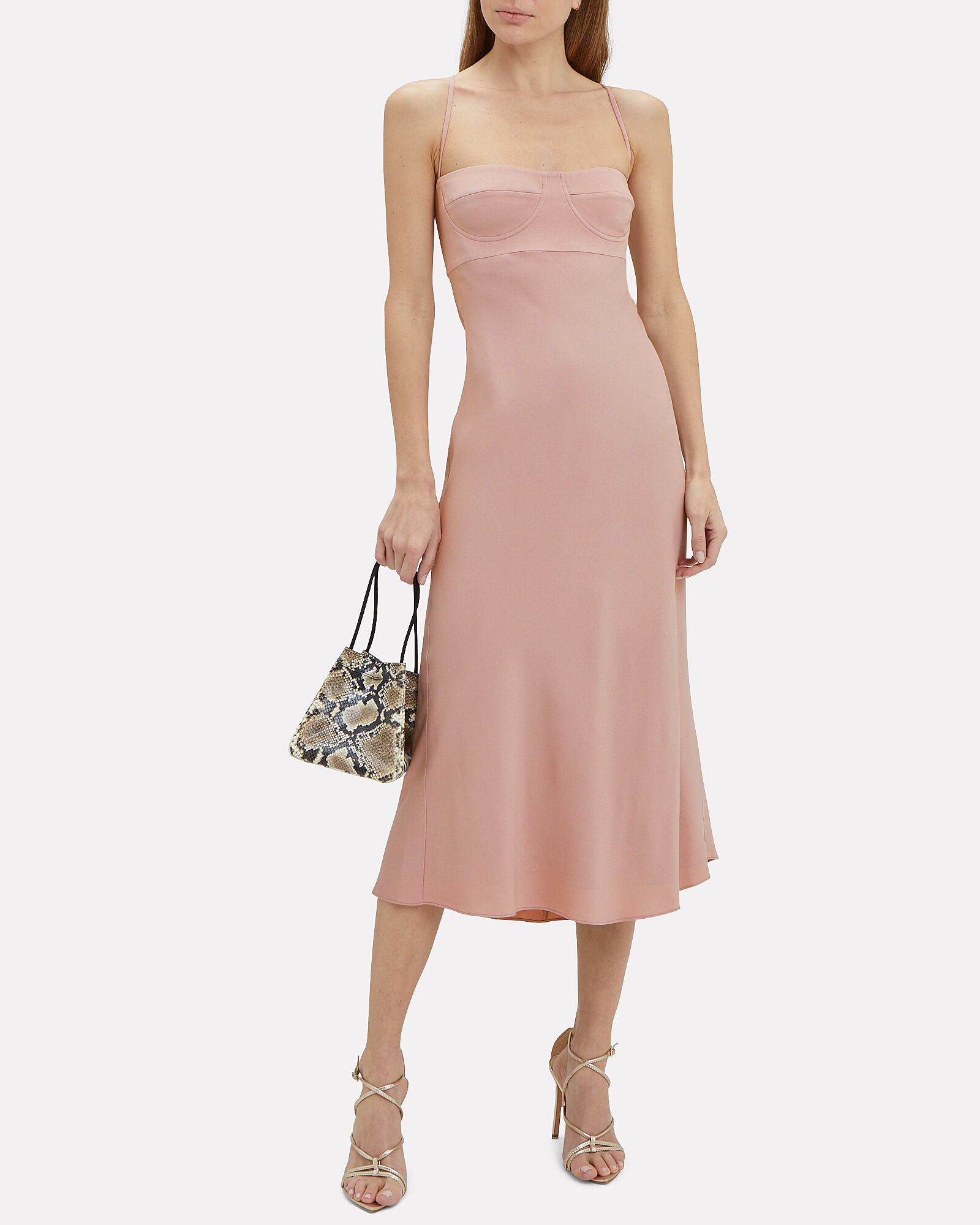 Crepe Suiting Bustier Dress, BLUSH, hi-res