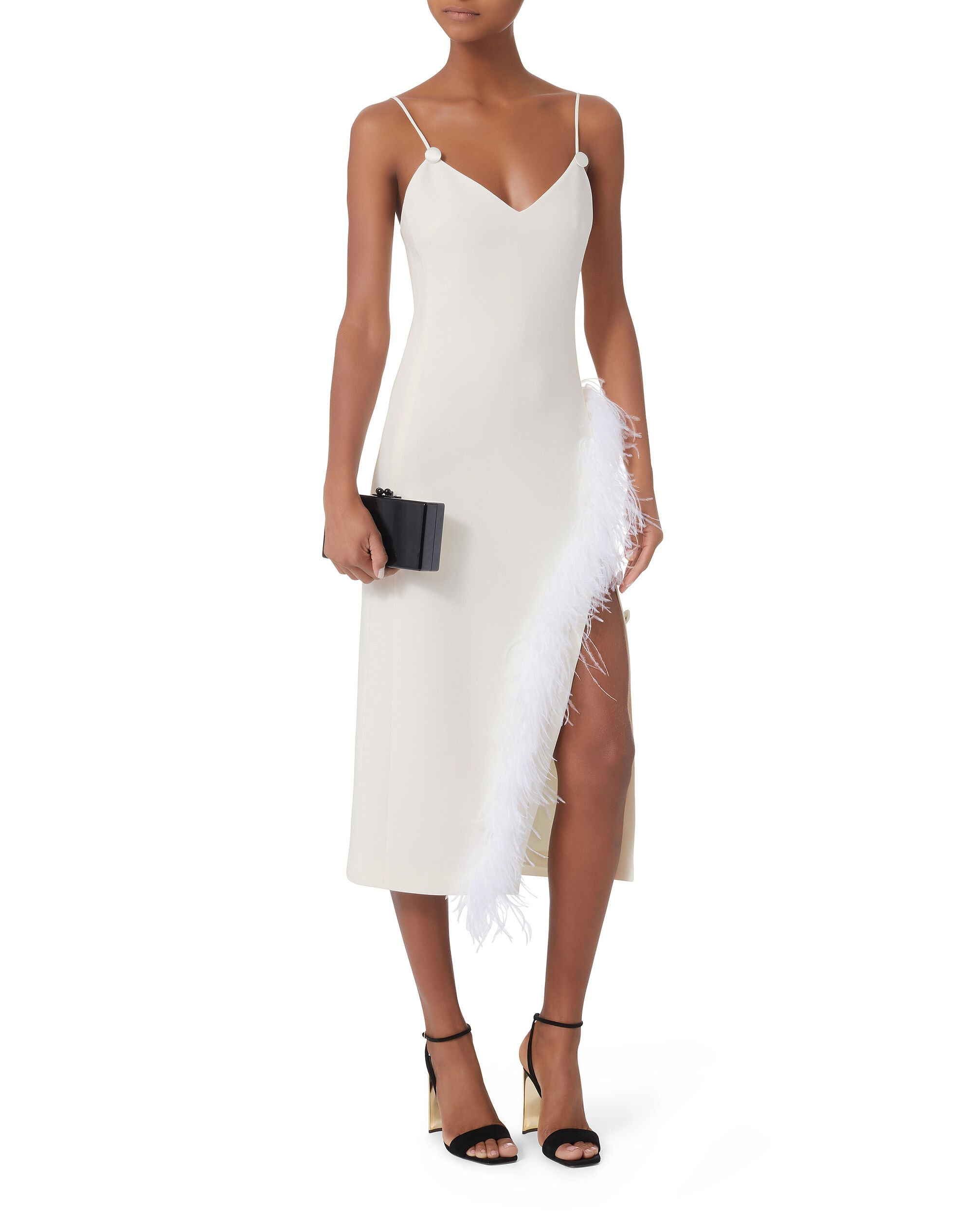 Cady Feather-Trimmed Midi Dress, WHITE, hi-res