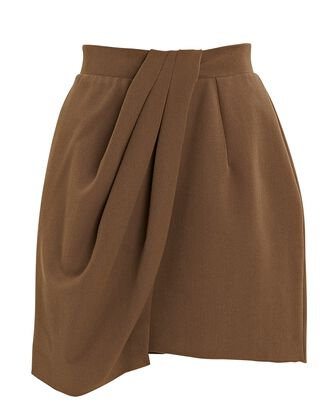 Draped Mini Skirt, BROWN, hi-res