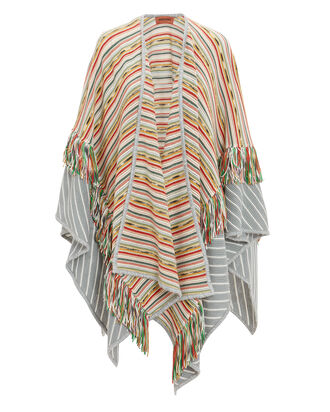 Fringe Striped Wrap, RED/GREY/WHITE, hi-res